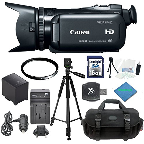 Canon VIXIA HF G20 Full HD Camcorder A2Z Starters Kit: Includes Full Size Aluminum Tripod With Case, 16GB SDHC Memory Card, SD Card Reader, Canon BP827 Replacement Battery, Rapid Travel Charger, High Resolution UV Filter, Weather Resistant Carrying Case, Starters Kit & A2Z Microfiber Cleaning Cloth