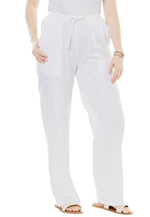 Womens Plus Size Tall Linen Blend Drawstring Pants At Amazon