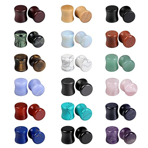 Evevil Wood Mixed Stone Plugs 18 Pairs/36 Pieces Set 0g Ear Plugs Ear Tunnels Ear Gauges Double Flared Ear Expander Stretcher Set (8mm)
