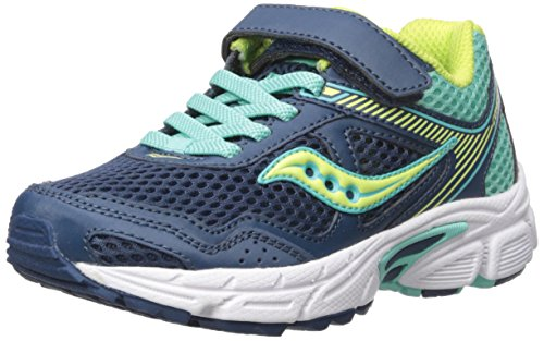 Saucony Cohesion 10 A/C Running Shoe (Little Kid/Big Kid), Navy/Turquoise, 10.5 Medium US Little Kid