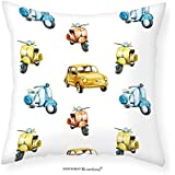 """VROSELV Custom Cotton Linen Pillowcase Vintage Colored Retro Italian Motorcycle Scooter Cars Watercolored Like Pattern Artwork for Bedroom Living Room Dorm Multicolor 20""""x20"""""""