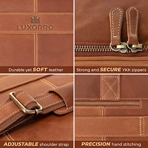 Luxorro Leather Briefcases For Men | Soft, Full Grain Leather Laptop Bag For Men W/hand Stitching That Will Last A…