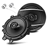 Pioneer TS-A1670F A Series 6.5' 320 Watts Max 3-Way Car Speakers Pair with Fiber Cone Midrange and 6-1/2' Multi-Fit Installation Adapters Included w/ FREE ALPHASONIK EARBUDS