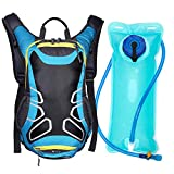 OCT17 Lightweight Backpack with Water Bladder Men Women Water Resistant Durable Adjustable Travel Cycling Hiking Camping Outdoor Daypack Waterproof – Blue For Sale