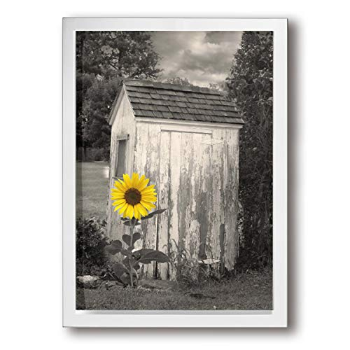 (Rustic Vintage Outhouse Farmhouse Yellow Sunflower Modern Canvas Prints Framed Wall Art Paintings Artworks Pictures For Living Room Bedroom Decoration 9x13 Inch)