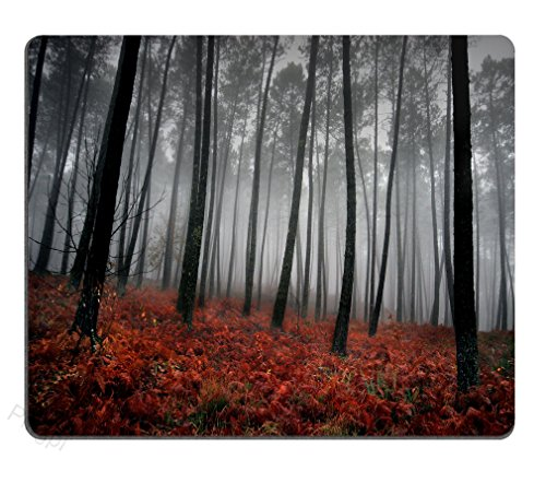 Pingpi Gaming Mouse Pad Custom,Mystic Forest Trees and Leaves Red Grass Modern Art Flower Rainy Foggy Gray Scene Print, 9.5X7.9 Inches Mouse Pad, Black and Gray