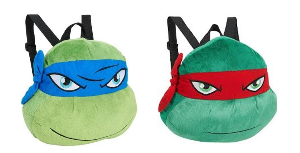 Teenage Mutant Ninja Turtles TMNT Plush Backpack Set - Raphael and Leonardo