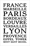 Damdekoli France Poster, 11x17 inches, Lyon Paris Eiffel Tower French Wall Art Print, Travel, Minimalist
