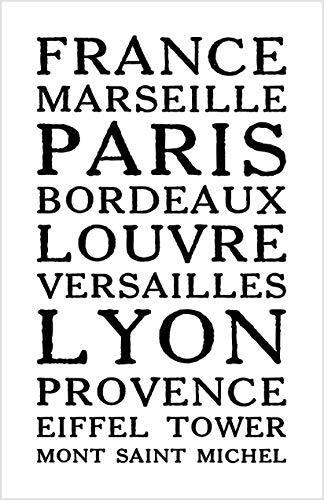 Damdekoli France Poster, 11x17 inches, Lyon Paris Eiffel Tower French Wall Art Print, Travel, Minimalist by Damdekoli