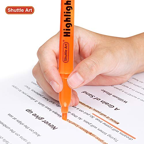 Highlighters, Shuttle Art 30 Pack Orange Highlighters Bright Colors, Chisel Tip Dry-Quickly Non-Toxic Highlighter markers for Adults Kids Highlighting in Home School Office