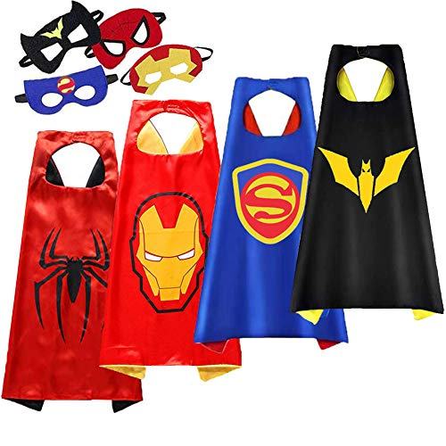 Kids Cartoon Heroes Capes - Role Playing Batman Costumes and Masks Birthday Party Gifts (Batman Cape 4pcs)