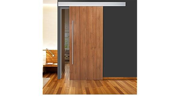 De madera para puerta corredera de oro Cedar 900 x 2050 mm DIN a la izquierda y derecha con 2 Mango de barras de acero inoxidable y aluminio sistema de guías: Amazon.es: