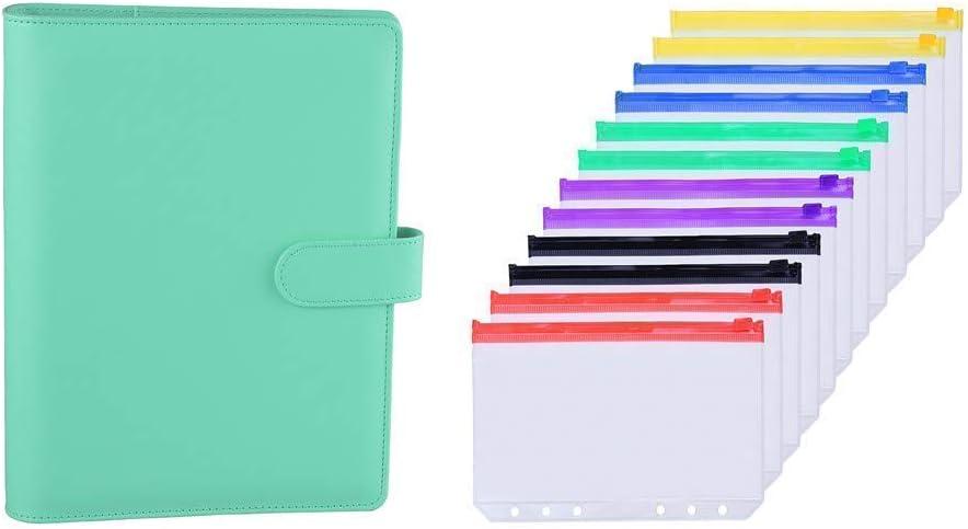 Antner A5 PU Leather Binder (Light Green) Bundle | 12pcs A5 Size Binder Pockets Multicolor Zipper