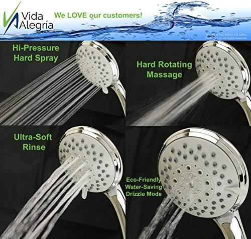 Vida Alegría H5+ Handheld Shower Head; with Steel Hose, Holder, 5 Sprays; 2.5 gpm (Chrome) - incensecentral.us