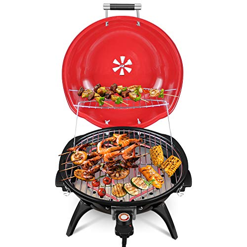 Techwood PRO Smokeless Grill Indoor/Outdoor Portable Electric BBQ Grill, 18 inches Round Adjustable Temperature Control Tabletop Grill Red Upgraded Version (Large Grill Electric Bbq)