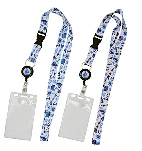 (2-Pack Cruise Lanyard with Retractable Badge Reel, Water Resistant Badge Holder, and Snap Buckle, White)