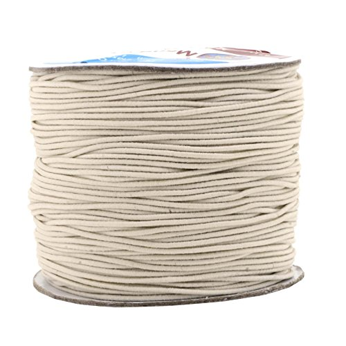 Mandala Crafts 1mm 109 Yards Round Rubber Fabric Covered Elastic Cord, Stretch String for Beading, Jewelry Making, Masks, DIY Crafting (Cream)