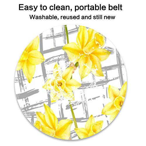 Mouse Pad Round Mouse Pad Yellow Flower Wallpaper Durable 220mm3mm ()