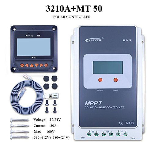 MPPT Solar Charge Controller , Solar Controller 10A/20A/30A/40A MPPT System With LCD display (MPPT30A+MT50+RTS) by EPever