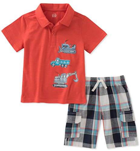 - Kids Headquarters Boys' Little 2 Pieces Polo Shorts Set, red, 6