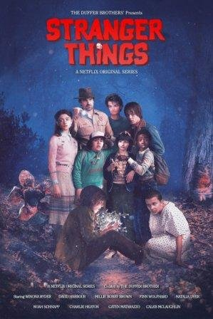 Stranger Things Season Two 2017 All Characters Retro Poster / Print Multicolour Rolled