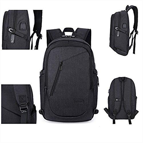 Anti Diebstahl Laptop Rucksack mit USB and Headphone 15.6 Zoll Laptoptasche Schulrucksack Unisex Daypack (Grau) Lock-schwarz