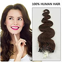 """Remeehi New 15""""-32"""" 100Strands 70G 0.7g/s 100% Brazilian Human Hair Extensions Easy Loop Micro Rings Beads Tipped Body Wavy Extensions 15 inch 4#"""
