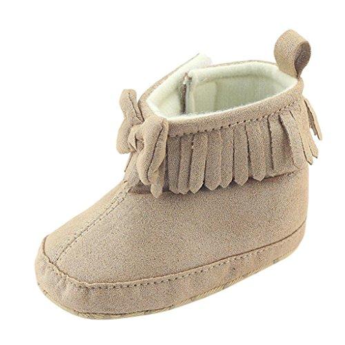Cheap LNGRY Toddler Newborn Baby Boy Girl Bowknot Boots Prewalker Warm Martin Shoes (0-6 Months, Khaki)