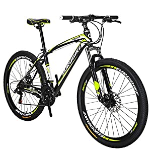 OBK 27.5 Wheels Mountain Bike Daul Disc Brakes 21 Speed Mens Bicycle Front Suspension MTB