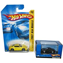 Hot Wheels Porsche Cayman Set: Black 1:87 Scale in a Display Case 1:87 & Yellow #32 '07 1st Edition 1:64 Scale Collectible Die Cast Cars