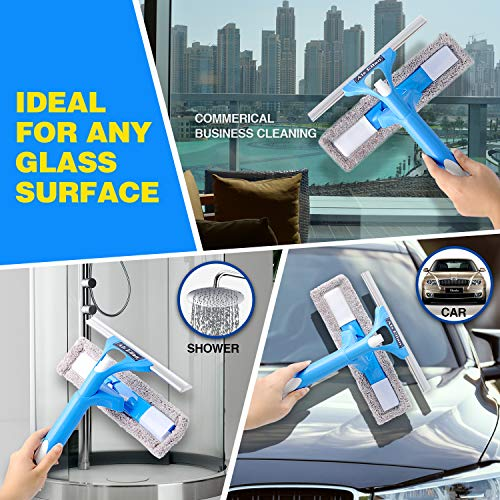 2 Pad 59 Window Cleaning Kit Als Ellan Professional 3 in 1 Window Squeegee with Microfiber Scrubber All Purpose Outdoor Window Glass Cleaner Tool with Spray Head /& Extension Pole for High Window