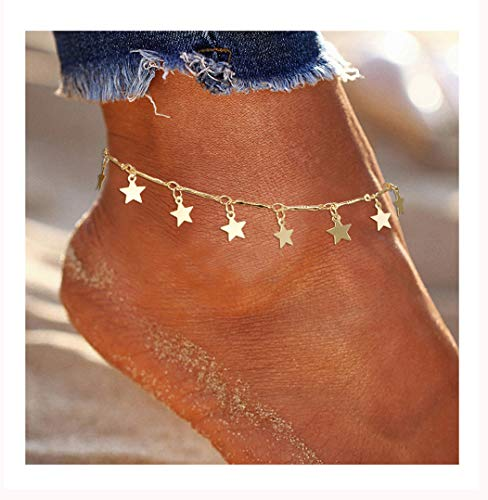 (ForeveRing Z Star Anklet Boho Beach Jewelry Layer Gold Tone Anklet Chain for Women)