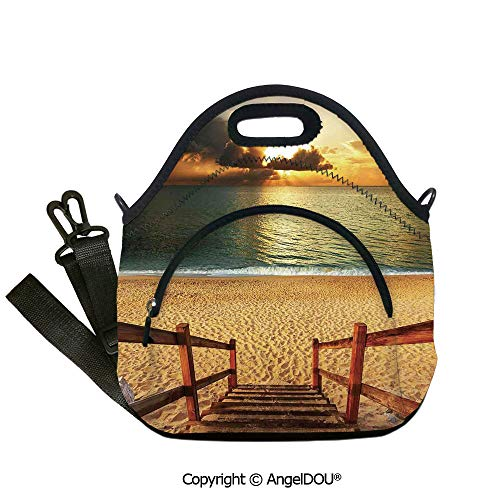 (AngelDOU Beach waterproof neoprene lunch bags Dramatic Beach Scenery with Majestic Rain Cloud Horizon Heaven Paradise Theme Outdoor Travel Picnic Beach Party.12.6x12.6x6.3(inch) )