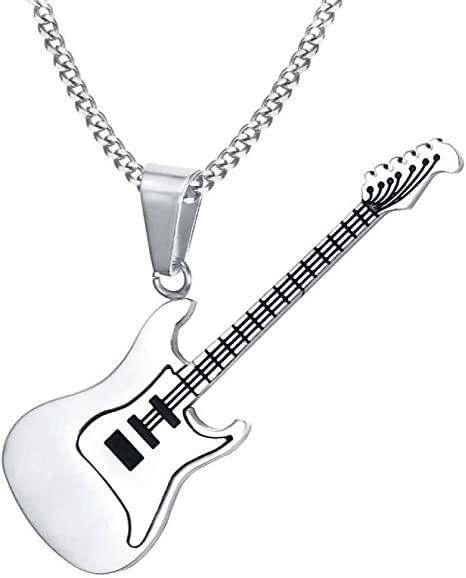 FZUNDX Rojo Azul Negro Guitarra Eléctrica Colgante Collar para ...