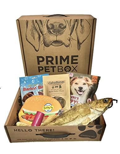 Prime Pet Box 'Surf n Turf' Dog Gift Box Care Package - Made in the USA Premium Treats, 18