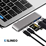 KILINEO USB C Hub, Aluminum 6-in-1 USB Type C Hub Adapter Dongle 100W Power Delivery, Compatible for 2016 2017 MacBook Pro 13'' 15'', Thunderbolt 3, USB-C Data, 2 USB 3.0 and MicroSD/SD Card Reader