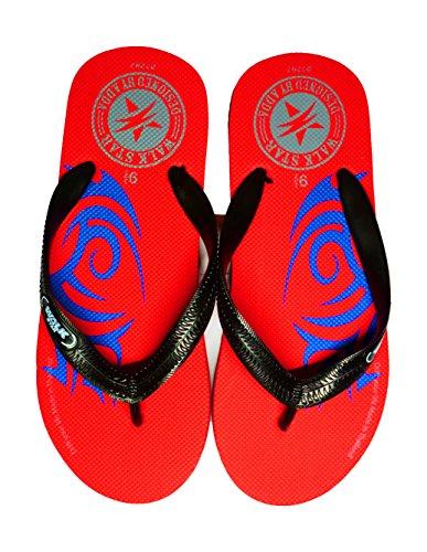 GeeShoeShop Top Quality Rubber Flip Flops Thong Sandal Beach Slipper (10, Red)