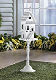 Birdhouses Freestanding Two Story Pedestal Birdhouse White Wood Patio Garden Decor