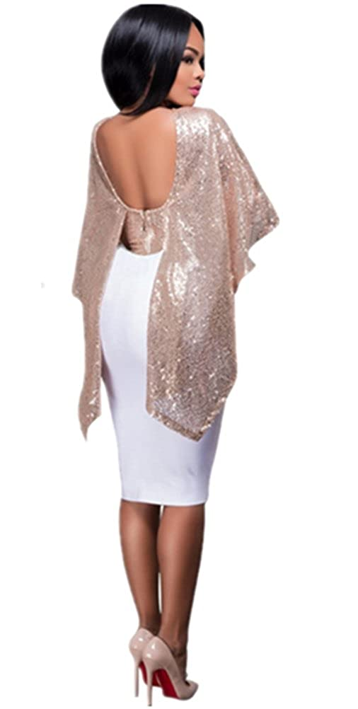 Blansdi Damen Sommer Elagant Pailletten Rundhals Rückenfrei Umhang Shawl  Kragen Crop Top T-shirt Cocktail Abend Clubwear Oberteile Bluse Schwarz  Rosa Gold  ... 1e60c368f5