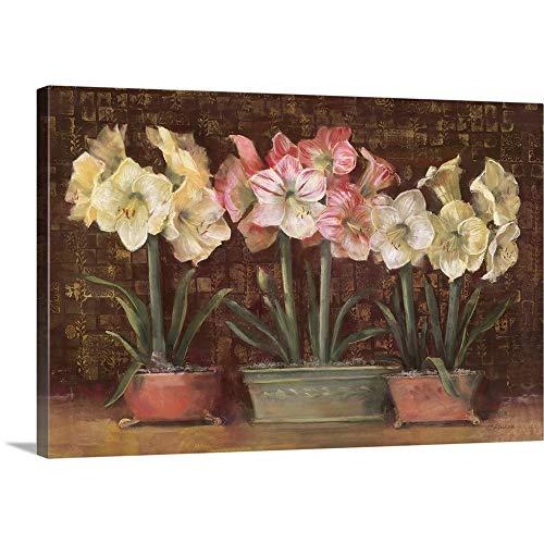 (Amaryllis on Brown Canvas Wall Art Print,)