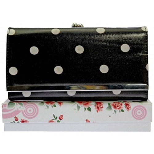 Girly HandBags Women's Polka Dots Purse -- Black White