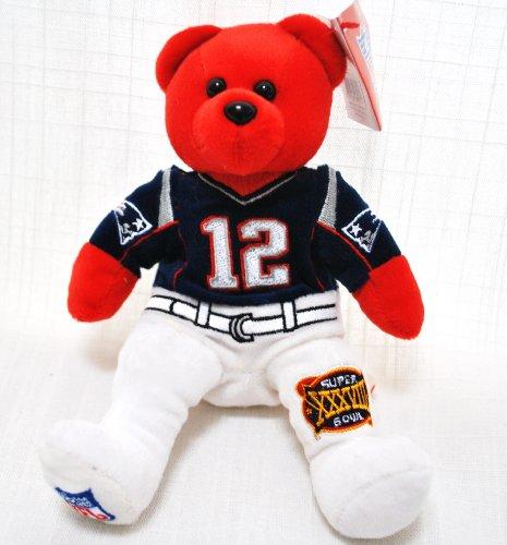 NEW ENGLAND PATRIOTS TOM BRADY #12 SUPER BOWL 38 COLLECTIBLE NFL FOOTBALL 8IN SPECIAL FABRIC UNIFORM PLUSH TEDDY - 12 Nfl Plush