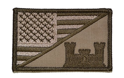 Army Engineer Castle USA Flag 2.25 x 3.5 inch Morale Patch - Coyote Brown