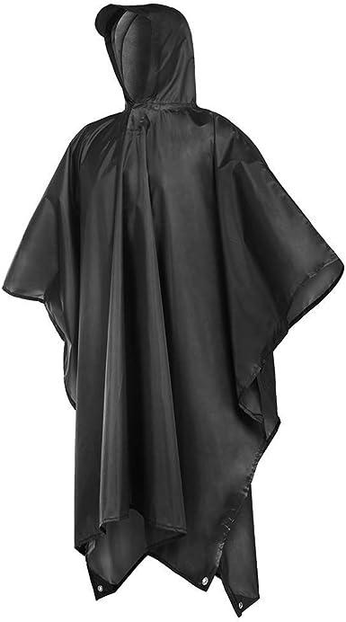 Women Men Waterproof Rain Coat Poncho Camping Hiking Hooded Cloth Durable UK