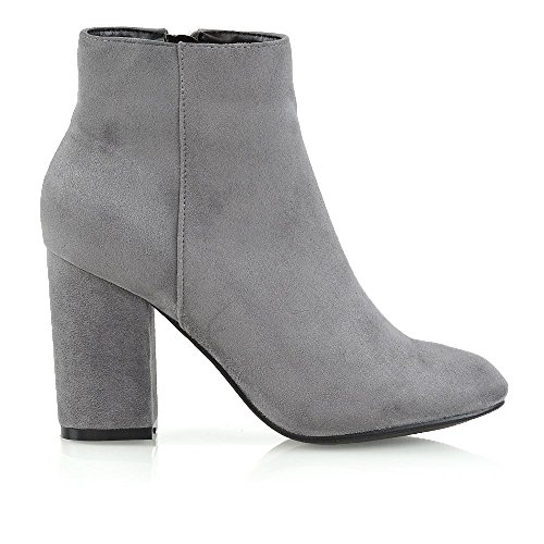 Suede Shoes Mid GLAM Booties ESSEX Grey Casual High Boots Party Smart Ladies Ankle Block Heel Womens Faux 47Hq7B