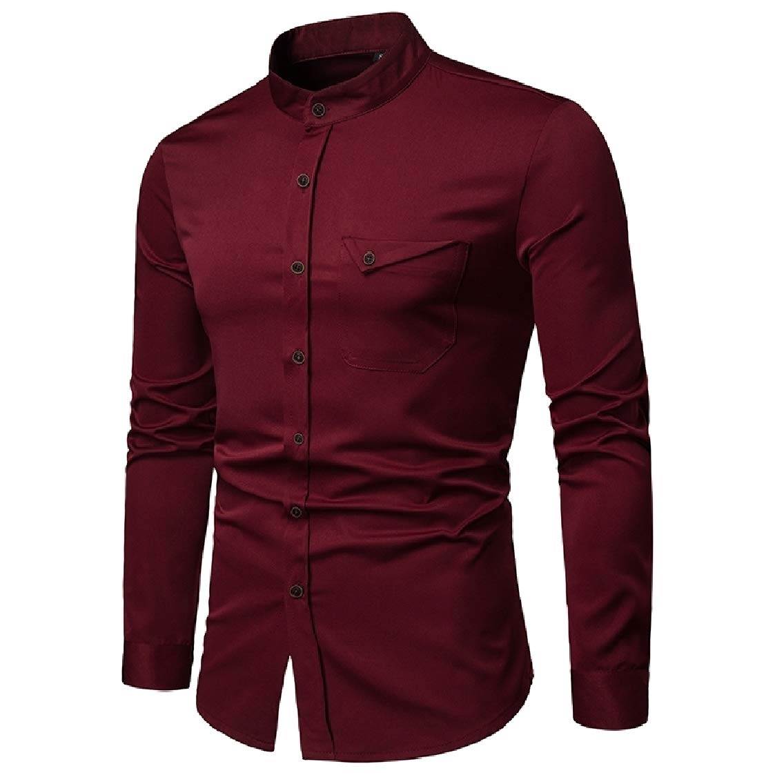 Nanquan Men Stand Collar Casual Button Up Regular Fit Long Sleeve Solid Shirts