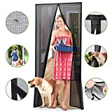 Homitt [Upgraded Version] Magnetic Screen Door with Durable Fiberglass Mesh Curtain and Full Frame Hook & Loop Fits Door Size up to 34'x82' Max- Black