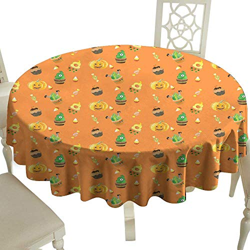 WinfreyDecor Polyester Tablecloth Watercolor Halloween Pattern with Cupcakes Indoor Outdoor Camping Picnic -