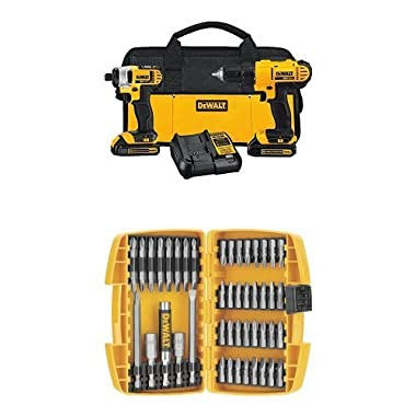 DEWALT DCK240C2 20v Lithium Drill Driver/Impact Combo Kit (1.5Ah) w/ DW2166 45-Piece Screwdriving Set