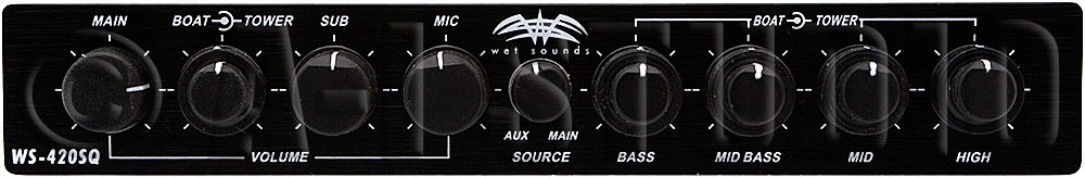 4 Band Parametric Equalizer with 3 Zone Operation with Microphone Wet Sounds WS-420 SQ